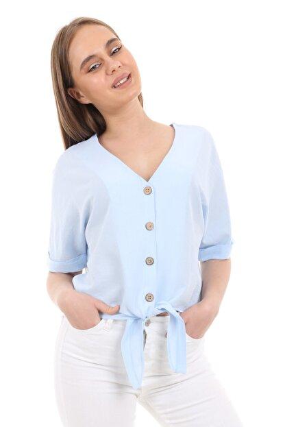 Bigdart Kadın Mavi Tahta Düğme Bağlamalı Bluz