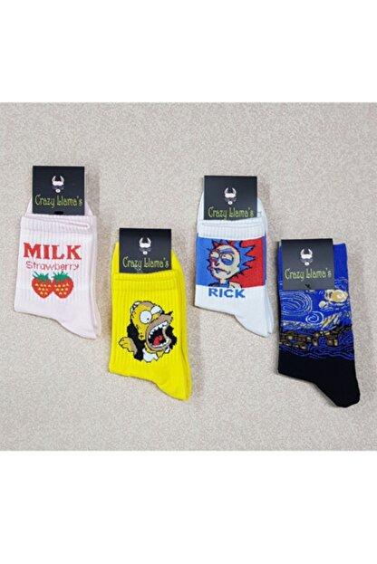 crazy Llama's Unisex Beyaz Çorap Set 4lü