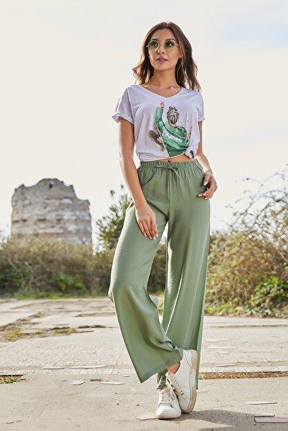Sateen Kadın Çağla Yeşili Beli Lastikli Bol Paça Pantolon
