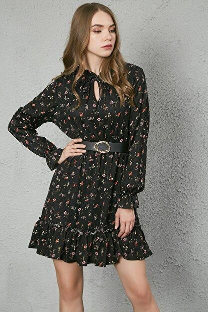 Sateen Kadın Siyah Yaka Bağcıklı Uzun Kol Elbise