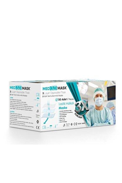 Med 3 Mask Med3.0mask 3 Katlı Burun Telli Ultrasonik Maske 50li