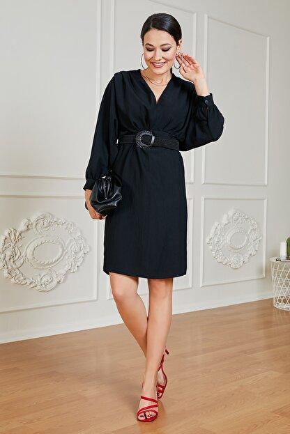Sateen Kadın Siyah Uzun Kol Kemerli Elbise