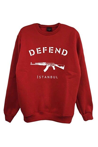 fame-stoned Unisex Kırmızı Baskılı Sweatshirt
