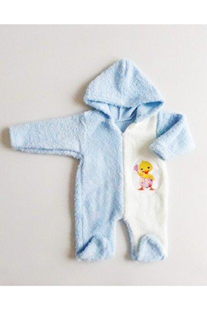 DODİPETTO Erkek Bebek Mavi Peluş Kapüşonlu  Tulum