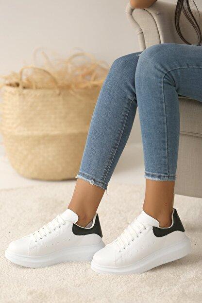 Pembe Potin Kadın Beyaz Siyah Ayakkabı
