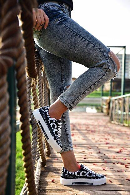 MİNAMİRA Kadın Siyah Baskılı Spor Cool Sneaker