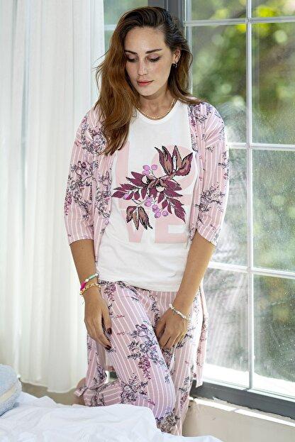 Ecrou Kadın Somon Çizgili Çiçek Desenli Penye 5'Li Pijama