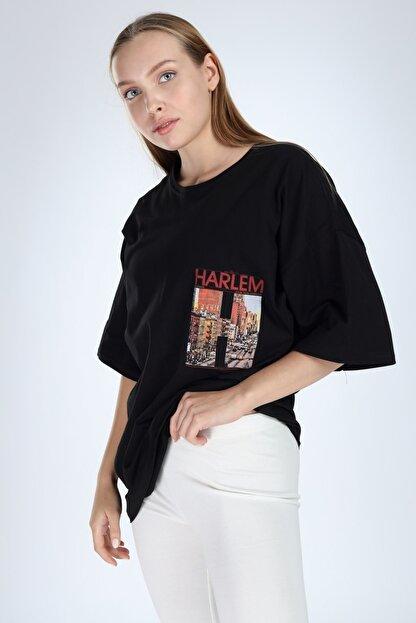 Millionaire Siyah Harlem Baskılı Oversize T-shirt