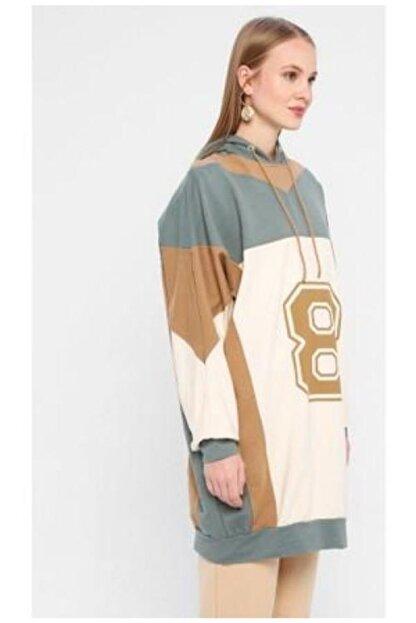 MODA AYZA Kadın Yeşil Sweatshirt Tunik