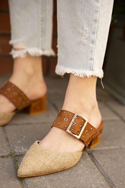 Straswans Kadın Taba Hasır Topuklu Ayakkabı