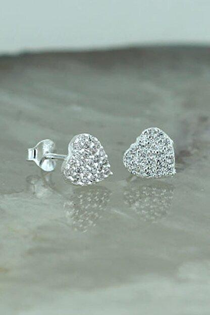 Tmec Silver 925 Ayar Gümüş Beyaz Taşlı Kalp Küpe