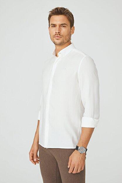 Avva Erkek Beyaz Armürlü Alttan Britli Yaka Slim Fit Gizli Patlı Gömlek A02Y2216