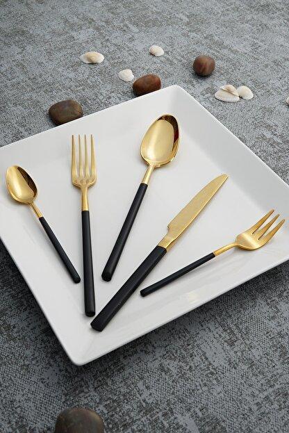 ACAR Julia Gold Paslanmaz Çelik 30 Parça Çatal Kaşık Bıçak Takımı  Siyah