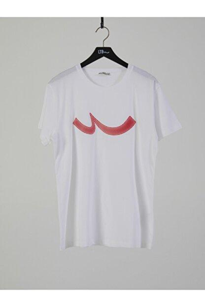 Ltb Erkek  Beyaz  Baskılı  Kısa Kol Bisiklet Yaka T-Shirt 012208415960890000