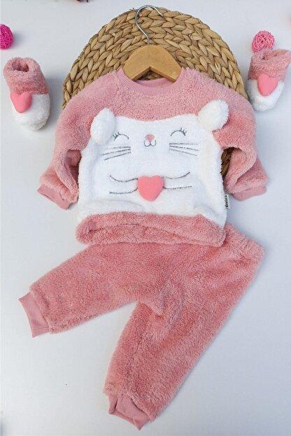 ALİSS Kız Bebek Pembe Kalpli Tilki Desenli Kışlık Welsoft Panduflu Bebek Takımı