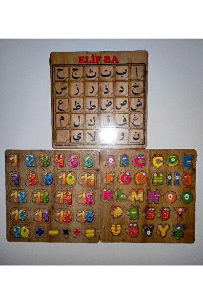 AVDA Elif Ba Arapça Harfler Puzzle+türkçe Harfler Puzzle+rakamlar-sayılar Puzzle Ahşap Puzzle Bul-tak