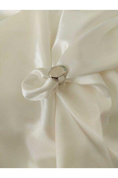 accessoriesbydream Kadın Beyaz Altın Görünümlü Şovalye Yüzük