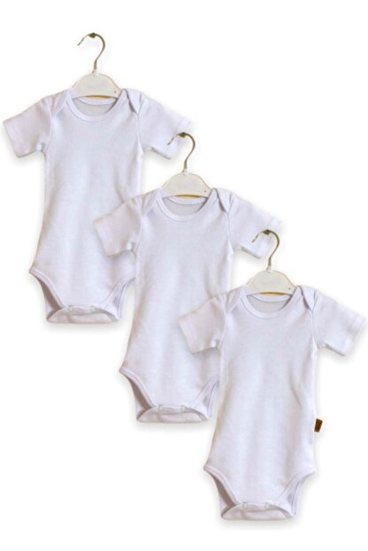Çiçek Bebe Pamuklu Kumaştan Kısa Kollu Zıbın Genişleyen Yakalı Beyaz Renkli 3'lü Çıtçıtlı Bebek Badisi