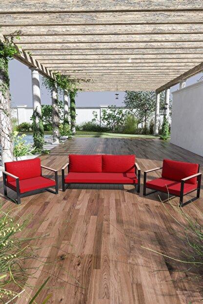 Evdemo Kobalt Bahçe Balkon Oturma Takımı 2+1+1 Kırmızı