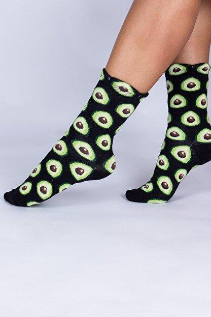Mupo Kadın Siyah Avokado Meyve Desenli Soket Çorap