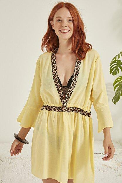 C City Kadın Sarı Pareo Plaj Elbisesi