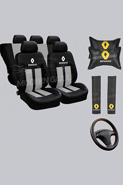Modern Garaj Renault Koltuk Kılıfı Renault Boyun Yastığı Renault Kemer Pedi Renault Dikmeli Direksiyon Kılıfı