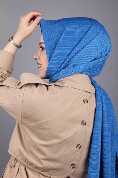 Asmira Kadın  Mavi Düz Renk Pliseli Şal - Renk-03