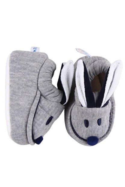 yummy kids Unisex Bebek Gri Tavşan Patik Babycapa