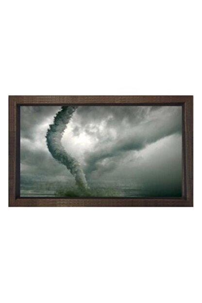Deniz Çerçeve & Tuval Fırtınalı Kasırga Manzara Tablosu Çerçevesiz 40x60