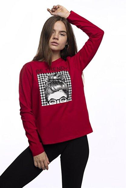 Miss Murem Kadın Kırmızı Be Trendy Kız Baskı Bluz