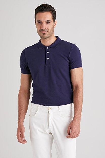 Dufy LACİVERT POLO YAKA ERKEK T-SHIRT - SLIM FIT