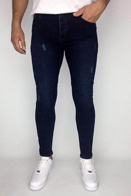 mustafacinali Erkek Lacivert Tırnaklı Skinny Bilek Kesim Jean