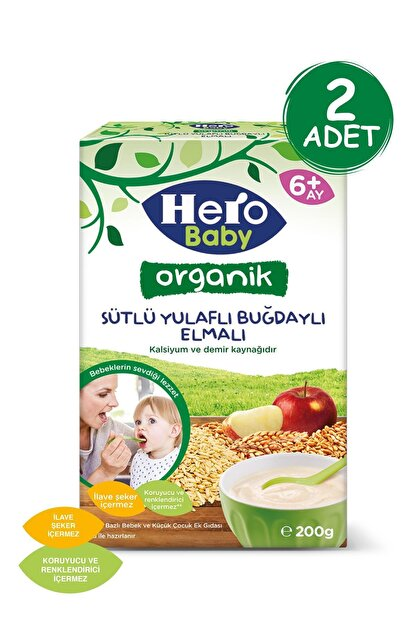 Hero Baby Organik Sütlü Buğdaylı Elmalı Kaşık Mama 200g 2 Adet