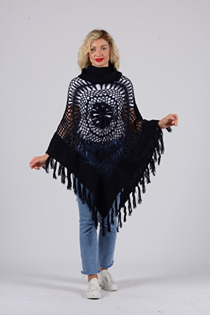 Gezgin tekstil ve aksesuar Kadın Lacivert Püsküllü Pullu Panço