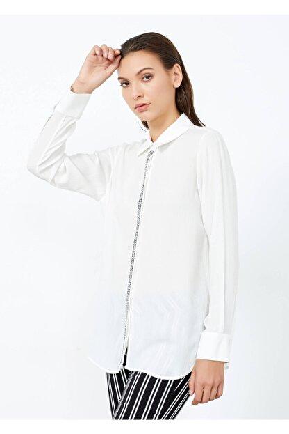 Adze Kadın Ekru Düğmeli Uzun Kol Gömlek