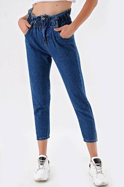 Modakapimda Koyu Mavi Beli Lastikli Jean Pantolon