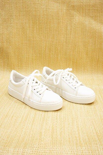 GNY AYAKKABI Kadın Beyaz Suni Deri  Sneaker