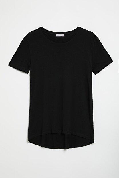 GRIMELANGE SAMANTHA Kadın Siyah Comfort Fit Arkası Uzun T-Shirt