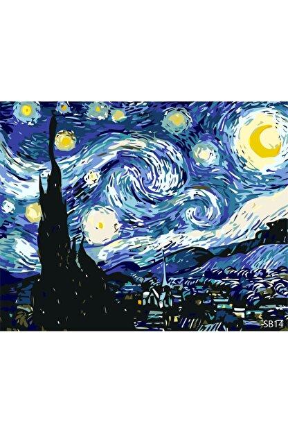 PlusHobby Yıldızlı Gece Sayılarla Boyama Seti 40x50 Cm Tuval