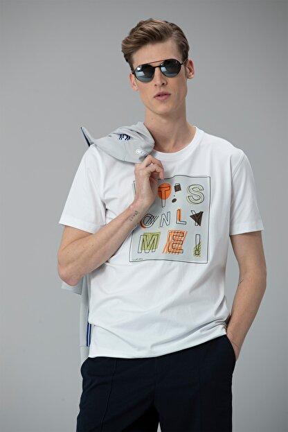 Lufian Etax Modern Grafik T- Shirt Beyaz