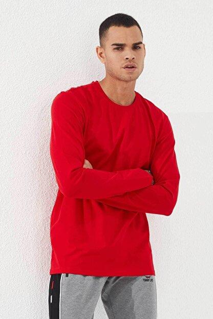 Tommy Life Erkek Kırmızı O Yaka Klasik  Sweatshirt