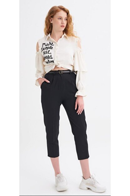 Quzu Kadın Siyah Kumaş Kemerli Pantolon