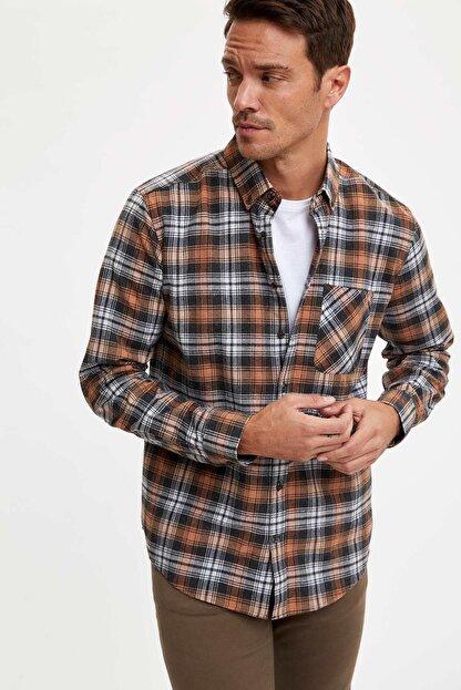 Defacto Erkek Kahverengi Ekose Uzun Kollu Modern Fit Gömlek