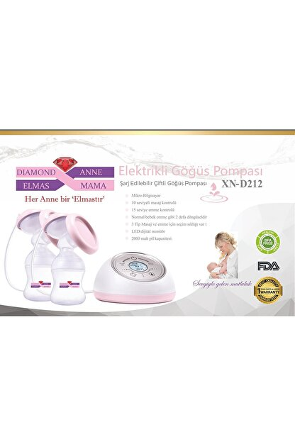Diamond Mama Elmas Xn-d212 Elektrikli Göğüs Pompası Çiftli,dokunmatik ,led Ekran,şarzlı