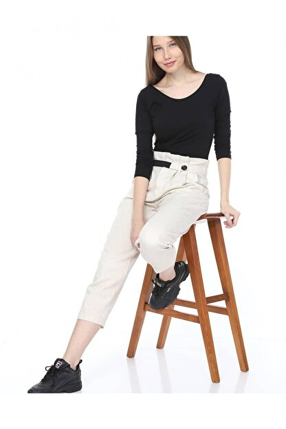 Giysimburada Kadın Ekru Beli Ayarlı Pantolon