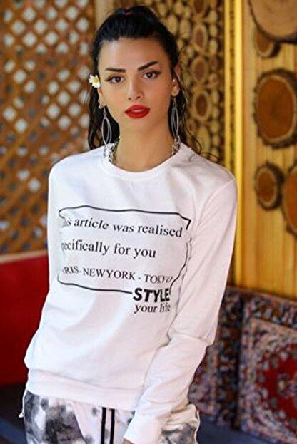 BİLDİKS Kadın Beyaz Yazılı Iki Iplik Sweatshirt - 4048.102. - Y.s