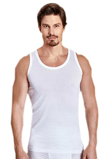 Berrak Erkek Beyaz 6'lı Paket %100 Pamuk Klasik Penye Atlet