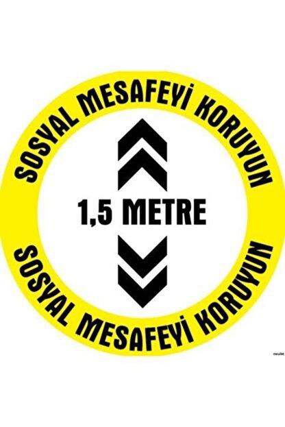 YKM TECNIART Sosyal Mesafe Etiketi 1,5 Metre Uyarı 20x20cm