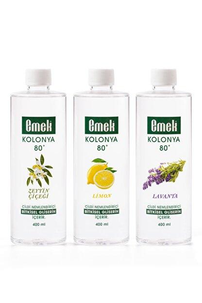 Emek Gliserinli Kolonya 400 Ml - 3'lü Karma Paket - Zeytin Çiçeği / Limon / Lavanta