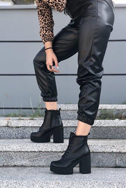 MİNAMİRA Kadın Siyah Platform Topuklu Bot